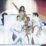 Cheryl Cole in gold jumpsuit on her Million Lights tour - photo by Dom Henry (c)